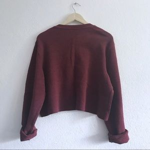 Vintage Sweaters - Maroon waffle knit oversize cropped henley sweater